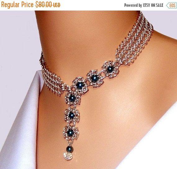 De cristal collar de Chainmaille, verde y plata, perlas, byzantine romanov chainmaille collar, collar de flores, europeo 4 en 1,…