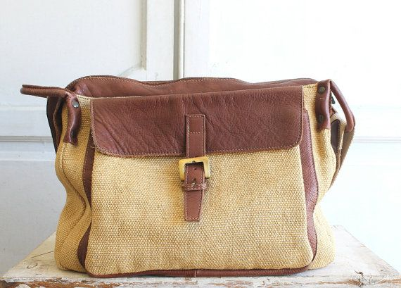 sisal & leather laptop messenger bag made in Italy by shopiverlee