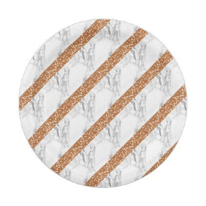 Marble rose gold glitter paper plate - glitter glamour brilliance sparkle design idea diy elegant