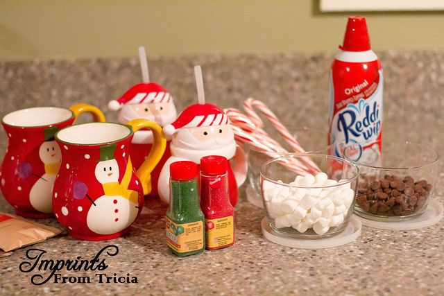 Enjoy a family hot chocolate bar while decorating the tree! Make it