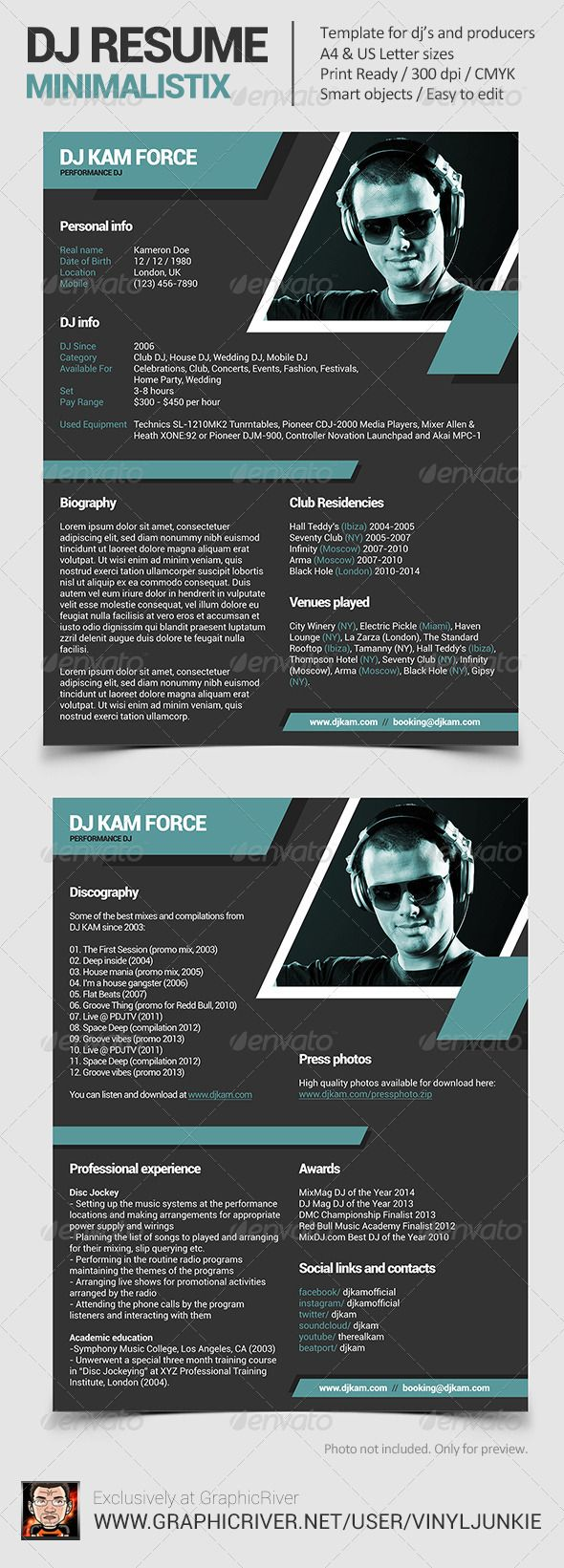 15 best images about dj press kit and dj resume templates for Dj biography template