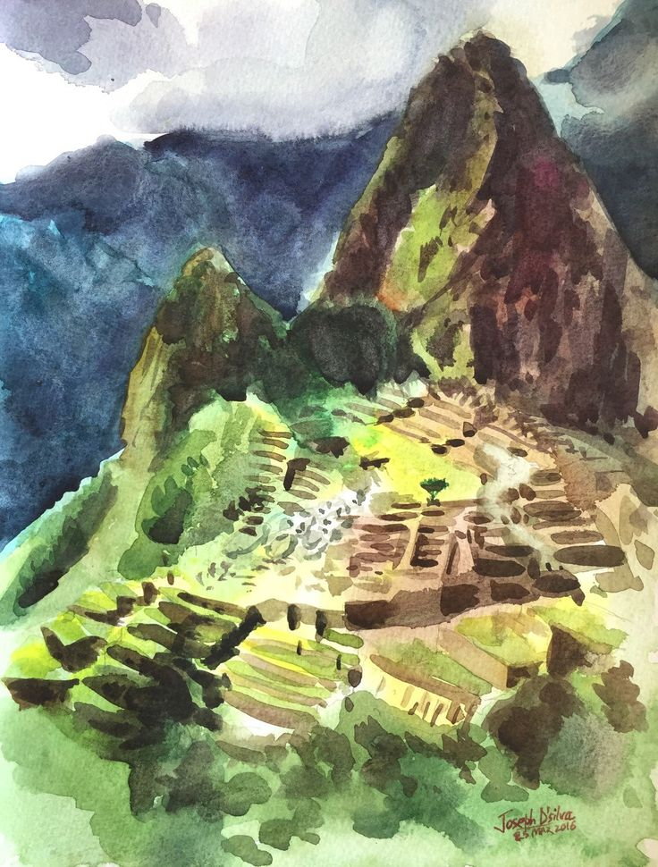 A personal favorite from my Etsy shop https://www.etsy.com/ca/listing/274081624/machu-picchu-peru-watercolor-painting