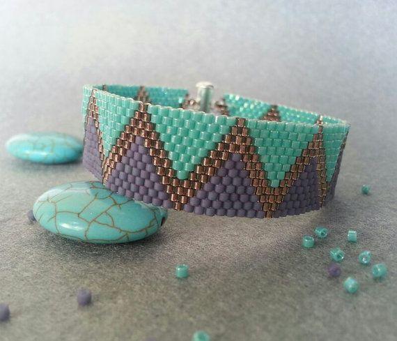 Purple and Turquoise Peyote Bracelet -Beadwork Bracelet- Beadwoven on Etsy, $30.29