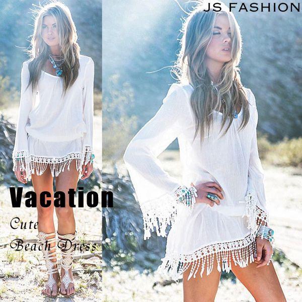 刺繍フリンジ・ウエストゴムビーチワンピース・水着やビキニと合わせて着るビーチウェア・F・ホワイト・ボヘミアン風・夏ワンピース・紫外線対策・日焼け防止・体型カバー・海・リゾート・旅行【●170406●】#JSファッション #春夏 #新作 #ビーチワンピース #水着と合わせて #ビキニにの上から着られる #夏ワンピース #リゾートワンピース #フリーサイズ #ゆったり #フリンジ #ホワイト #ショート丈#大人可愛い #シンプルカジュアル #かわいい #大人セクシー #紫外線対策 #体型カバー #ビーチ #海 #海デート #夏 #南国旅行 #バケーション #リゾート #海外 #通販