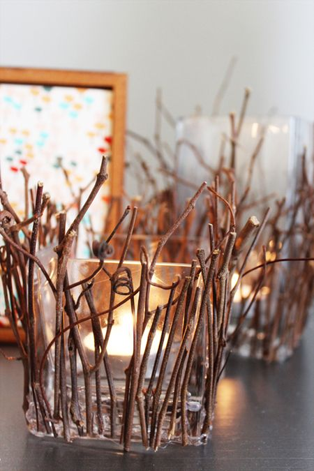I love the warm glow of the candle and the wild lines of the twigs and grapevine- can you imagine the kind of awesome shadows this must cast???