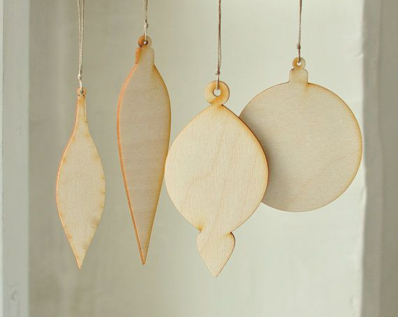 SET of 4 pcs - wooden christmas decor - wooden shapes, unfinished wood,  unpainted