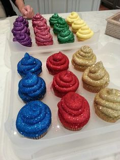 Sparkly alicorn poop cupcakes