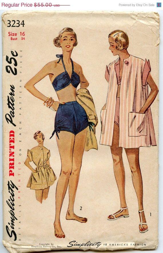 35% di sconto vendita da cucire d'epoca anni cinquanta modello semplicità 3234 manca tuta due Piece Swimsuit spiaggia cappotto da cucire d'epoca modello busto 34 di GreyDogVintage su Etsy https://www.etsy.com/it/listing/130740678/35-di-sconto-vendita-da-cucire-depoca