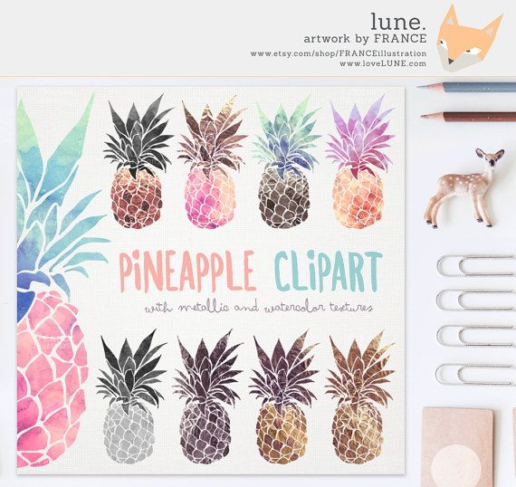 Pineapple Clipart: Metallic  Watercolor by FRANCEillustration