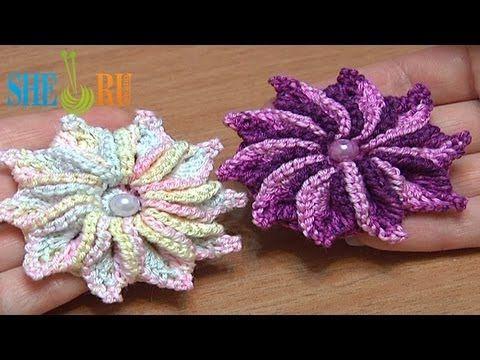 How to Crochet 3D 10-Petal Flower Tutorial 47 Crochet Around Post