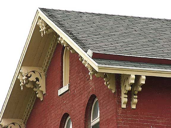 brackets - gabled roofs - never hip roof