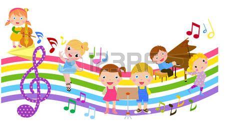 marcos con notas musicales: Los niños de dibujos animados y música