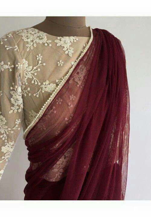 #sari Deep maroon with nude blouse for a evening party