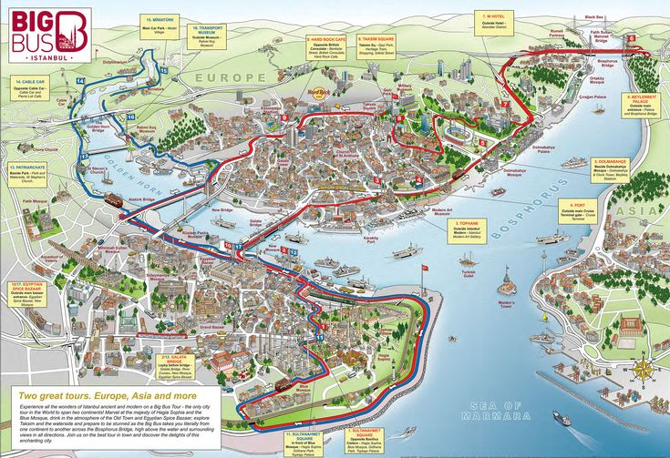Map of Istanbul tourist attractions sightseeing & tourist tour : New Zone