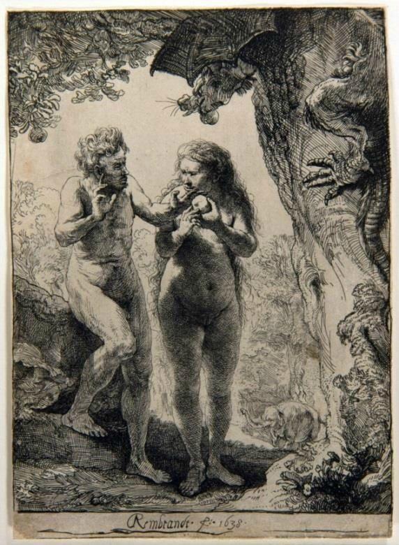 Rembrandt, Adam et Ève, 1638 © Stichting Rembrandt op Reis