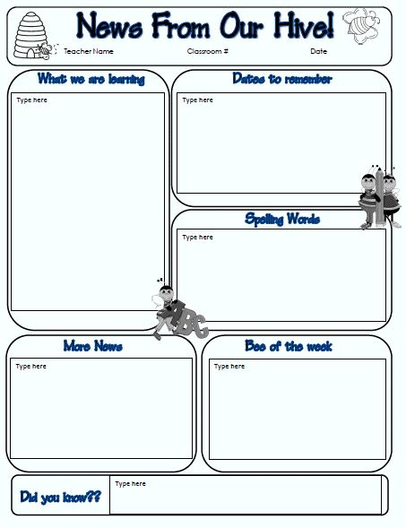 126 best Classroom Newsletter images on Pinterest Activities - newspaper templates for kids