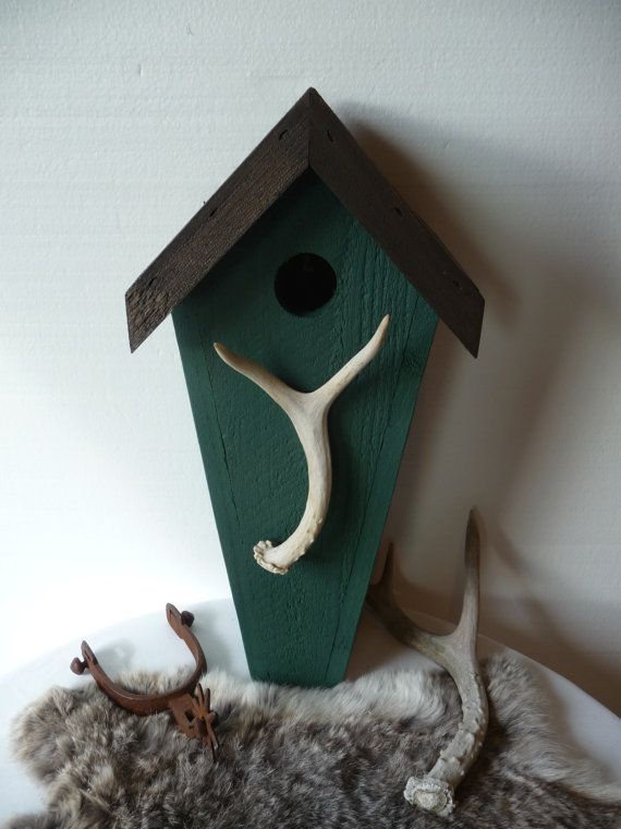 Rustic outdoor art bird house with deer antler in green by Plus Z Ranch.