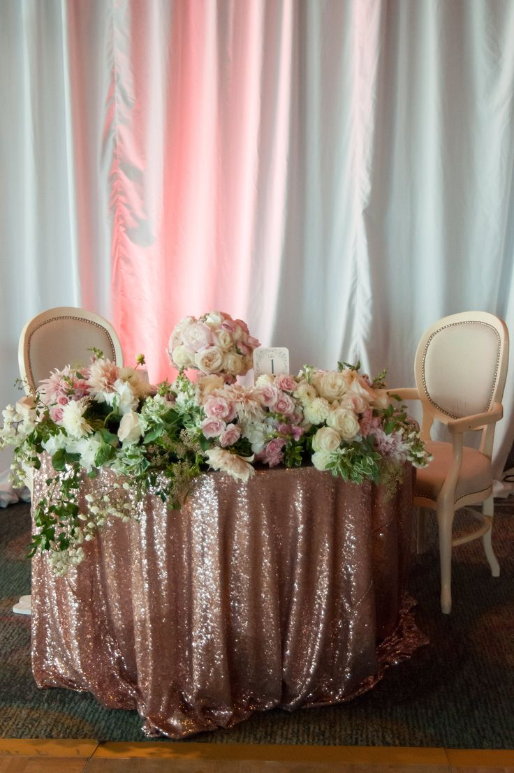 A lush romantic head table!!! Designed New Creations Wedding and photographed by Affinity Photography! Blush Sequin Linen by Coverings Specialty Linen Rental and Sales.