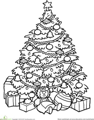 christmas tree coloring page - Detailed Christmas Coloring Pages