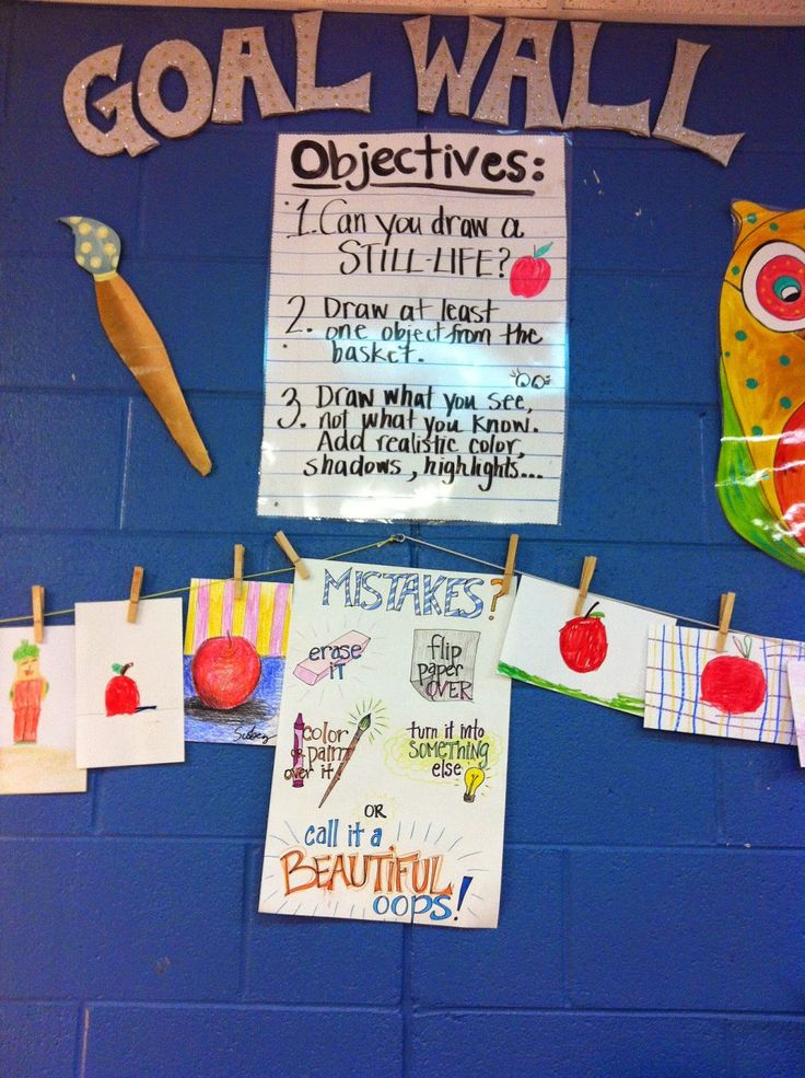 ChumleyScobey Art Room: goal wall - great idea for kids who finish early. Can change the goal throughout the year. Love this!