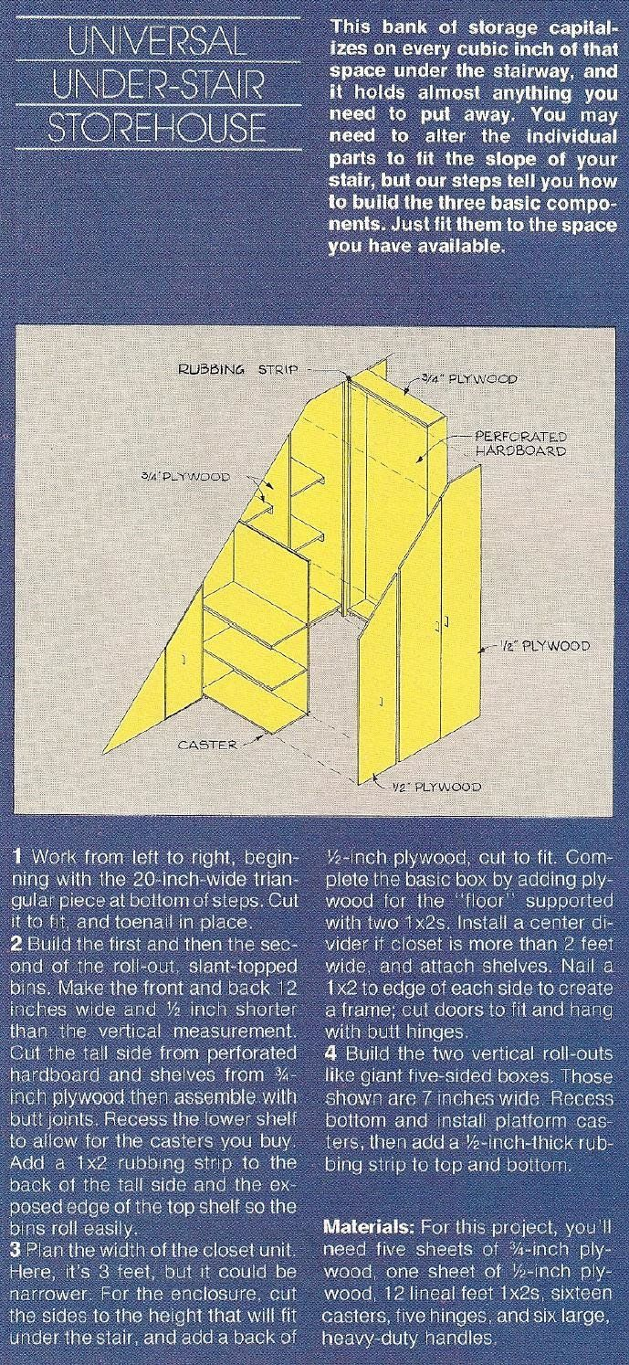 rough directions for pull out shelves beneath the stairs