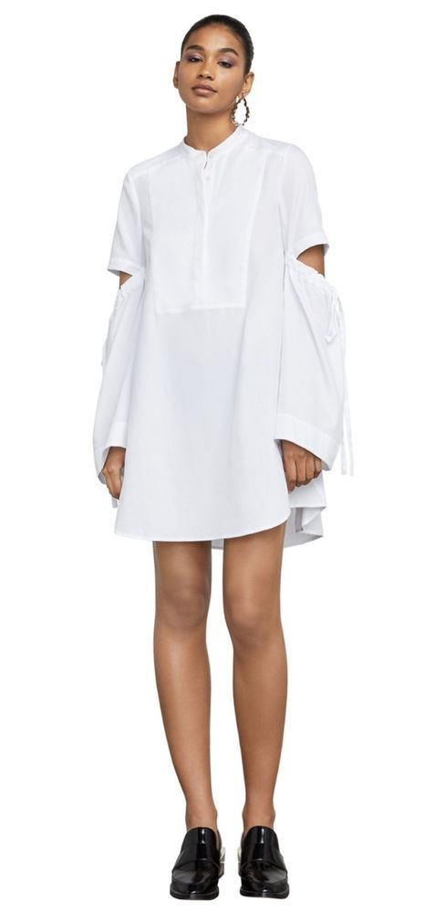 29520485b248 BCBG MAX AZRIA NEW WHITE DRAWSTRING LONG SLEEVE SHIRT Dress  198   BCBGMaxAzria  ShirtDress  Casual