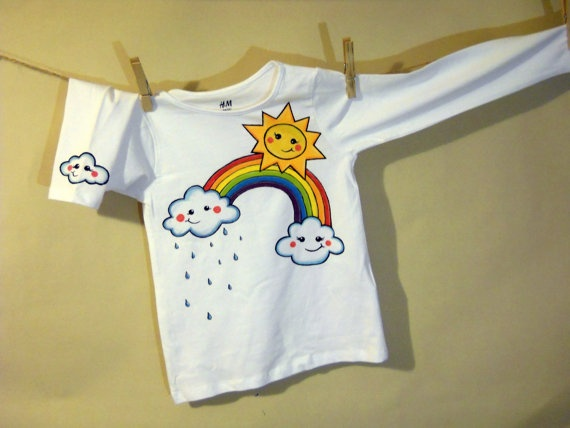 Handpainted white long sleeve Tshirt with sun clouds by maLOVEnia, $23.00
