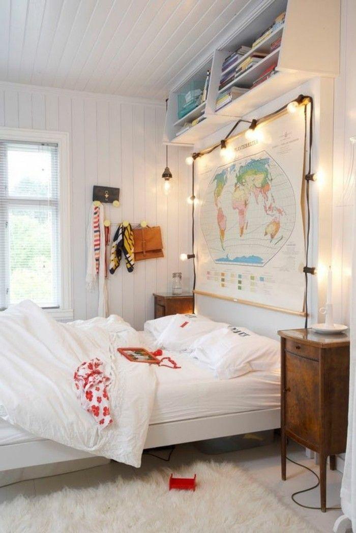 jolie conforama chambre fille avec tapis blanc, decoration avec guirlande lumineuse, tapis en fourrure blanc