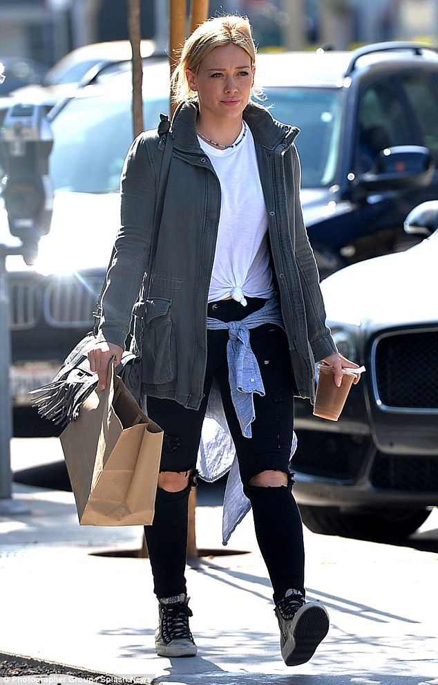 Hilary Duff works off-duty style in distressed denim as she steps out #dailymail