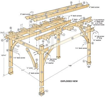 17 best ideas about pergola plans on pinterest pergola ideas decking ideas and diy pergola for Plans de pergola