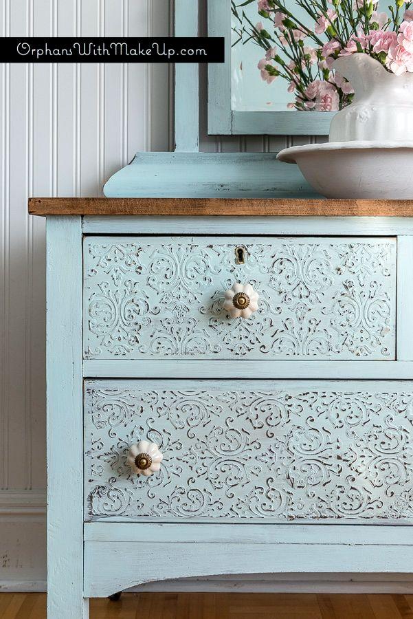Embossing Plaster Dresser #DIY #furniturepainting #raisedstencileffect…