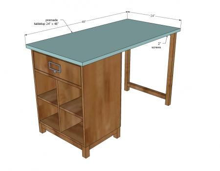 Nice Idea for sewing desk. Make the table Counter height and possibly a bit wider. Use the extra shelf space gained from the additional height to store the sewing machine when not in use. If possible make dimensions so that the shelf base can be turned either way depending on situation of table.