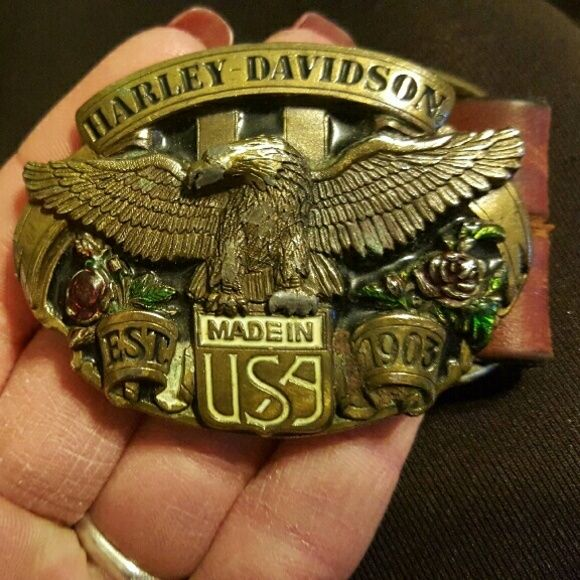 RARE vintage HARLEY DAVIDSON buckle comes with or without brown belt harley davidson Accessories Belts