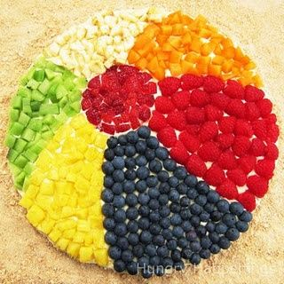 Beach Ball fruit pizza....cute for beached theme or summer party