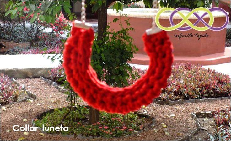 Collar luneta #crochet #Trapillo hecho a mano