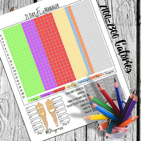 2100-2300 calorie 21 Day Fix Program Manager / Daily Checklist / Container Tracker / Progress Report / Workout calendar printable download