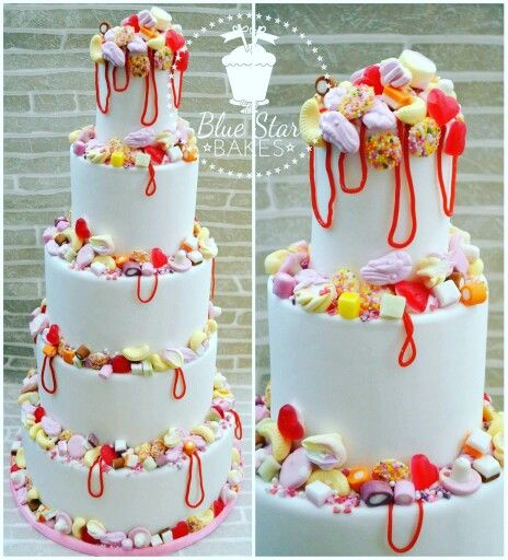 Love is Sweet 5 tier sweetie cake pick and mix pick n mix shrimps bananas strawberry laces haribo heart throws dolly mixtures mushrooms marshmallows jazzies sprinkles wedding cake from www.facebook.com/bluestarbakes