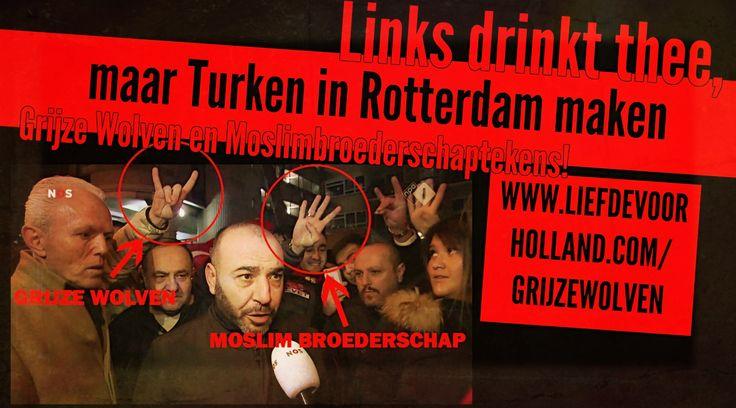 De fascistische, terroristische tekens worden gewoon gemaakt door Turken op de Nederlandse televisie. En links zag dat het goed was. Meer Grijze Wolven en Moslimbroederschaptekens kun je ZELF hier in het NOS-Journaal nakijken!! Nog meer Grijze Wolventekens zien? Kijk HIER eens in Arnhem!  Gerelateerd
