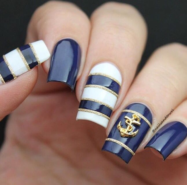 In love with @nailsandtowel's nautical mani! - Medium Straight Nail Vinyls found at: snailvinyls.com