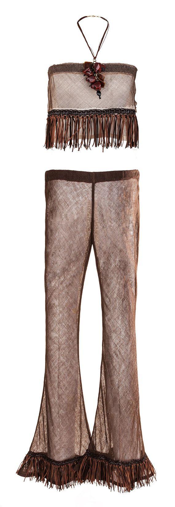 Nude look Pants and Top. Viscose lace mesh napa di AltaModaDonna