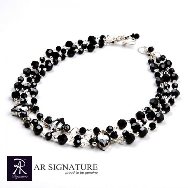 Midnight Sonata, Hancrafted by AR Signature,Jewelry made with Genuine Swarovski®  Crystal and Plated wire from USA.  The Harmony from Jet and Silver Night Crystal almost look like they're playing the music for the night.