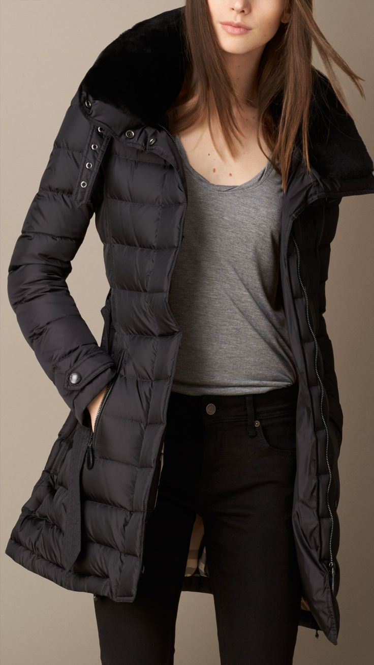 Down-Filled Coat with Shearling Collar.