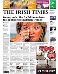 A la une de l'Irish Times : Le Premier ministre irlandais, Enda Kenny, a présenté des excuses à plusieurs milliers de femmes, victimes de mauvais traitements dans les infâmes laveries des couvents de la Madeleine - 6 février 2013