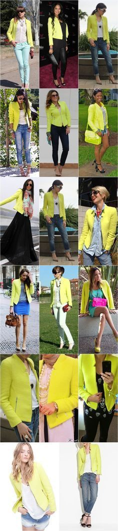 How to rock a neon blazer... I'm drawn to the color but I'm not sure if It's something I'd wear. Hmm.