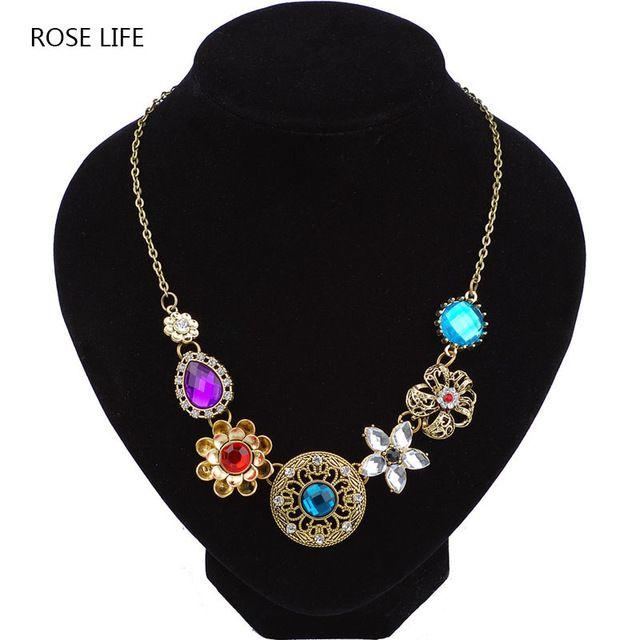 Роза Жизни ретро ветер Тонкой Нитью пустой цветок колье Бронзовый ожерелье кулон ювелирные изделия для женщин