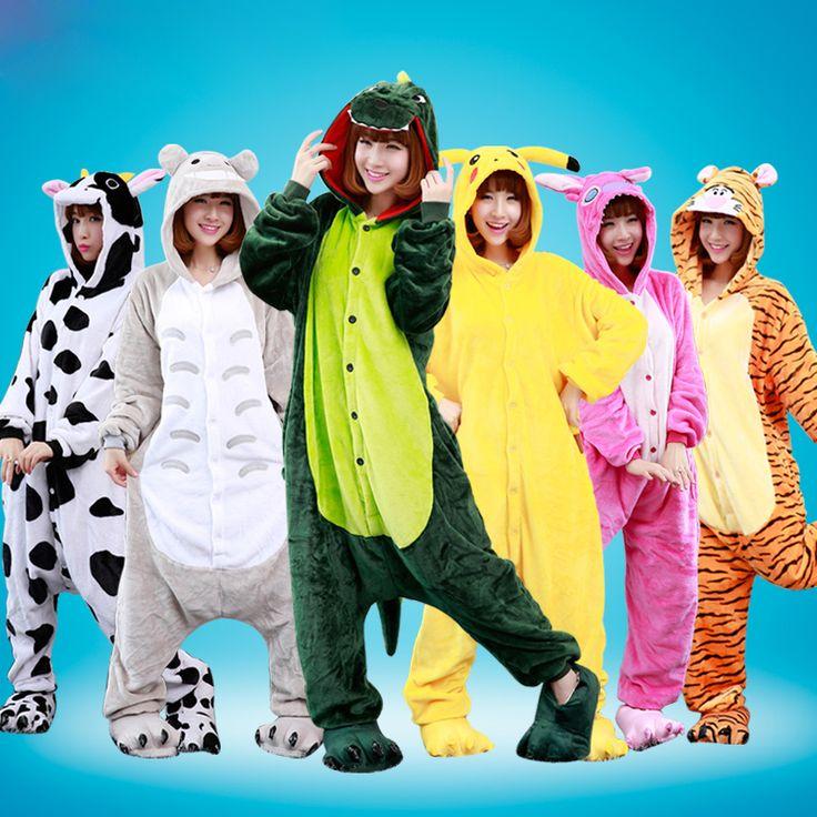 Cartoon Animal Cosplay Pijama Women Flannel Adult Unicorn Pajamas One Piece Stitch Licorne Panda Onesie Couple Pajama Sets [Affiliate]