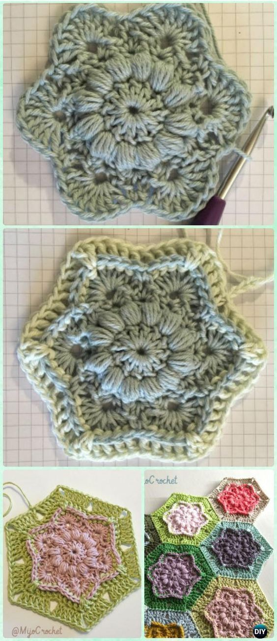 Crochet Wind Flower Hexagon Motif Free Pattern - #Crochet Hexagon Motif Free Patterns