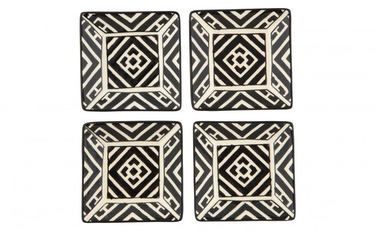 Moroccan Appetizer Plate - black and white - Tabletop - Accessories   Jayson Home