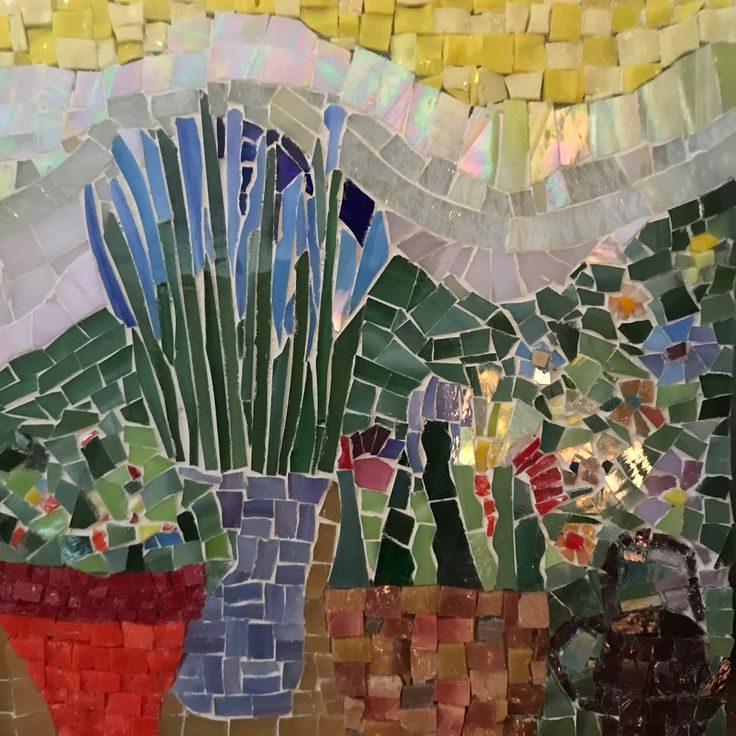 "Mosaic ""In the Garden 2"" 2018 onesmallpieceMosaics.etsy.com/  Rosemary Pulvirenti  Sold"
