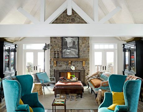 love the symmetry of the big cabinets and NO tv!: Farmhouse Chic, Stones Fireplaces, Living Rooms, Idea, Open Spaces, Colors, Beams, Teal Chairs, Vaulted Ceilings